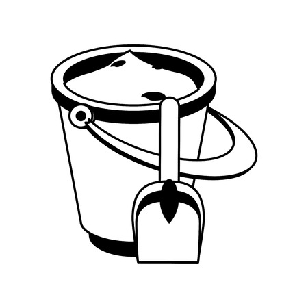 bucket with sand and shovel icon image vector illustration design  black and white