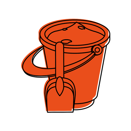 bucket with sand and shovel icon image vector illustration design  orange color