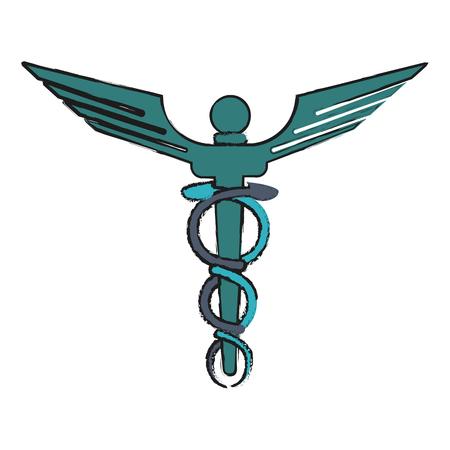Colorful medicine symbol doodle over white background vector illustration Illustration