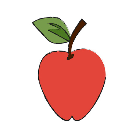 Colorful apple doodle over white background vector illustration Illustration