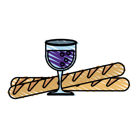 Colorful wine glass and baguette doodle over white background vector illustration