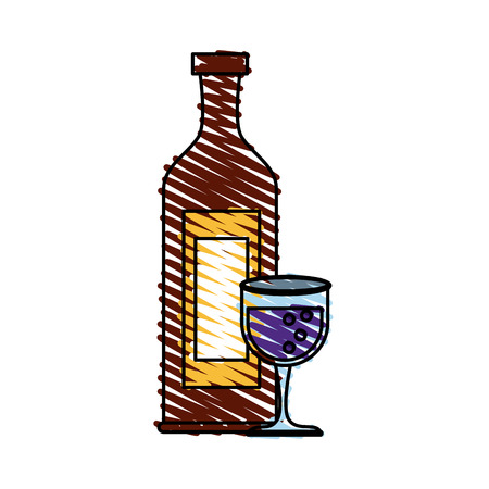 Colorful wine glass and bottle doodle over white background vector illustration