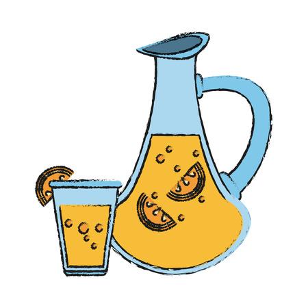 Colorful lemonade jug and glass doodle over white background vector illustration