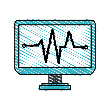 Colorful electrocardiography monitor doodle over white background vector illustration Illustration