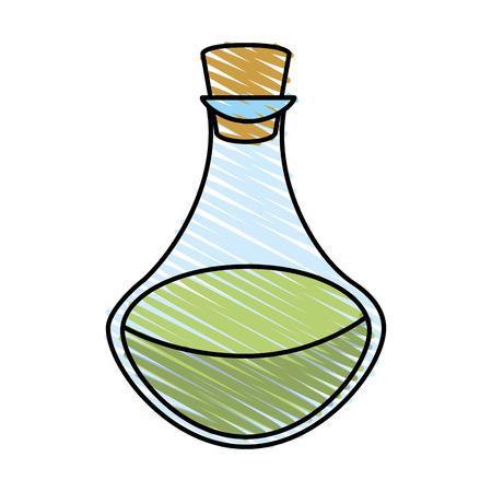 decanter: Colorful potion flask doodle over white background vector illustration