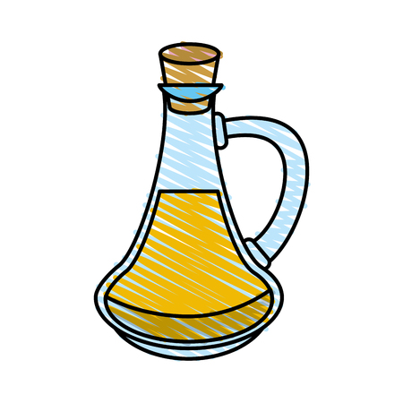 Colorful flask doodle over white background vector illustration Illustration
