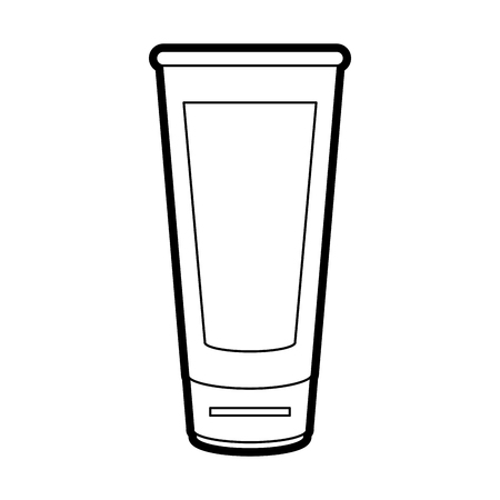 Flat line uncolored glass over white background vector illustration Çizim
