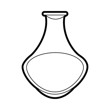 Flat line uncolored flask over white background vector illustration