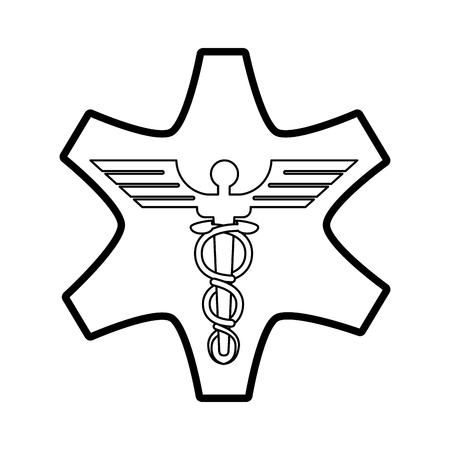 Flat line uncolored medicine sign over white background vector illustration Illustration