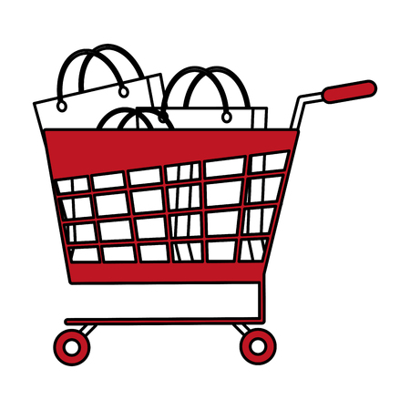Flat line shopping cart and bags with hint of color over white background