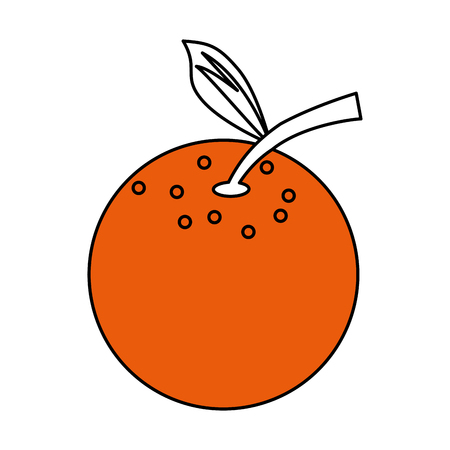 Flat line orange with hint of color over white background vector illustration