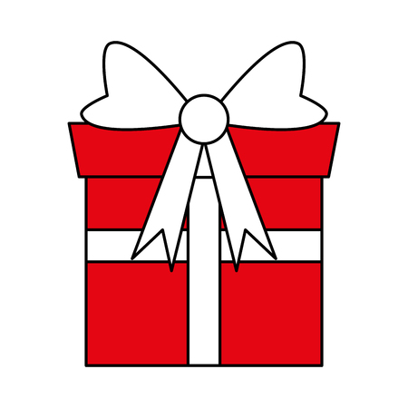 hint: Flat line gift with hint of color over white background vector illustration Illustration