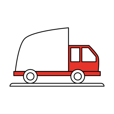 Flat line cargo truck with hint of color over white background vector illustration