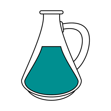 Flat line flask with hint of color over white background vector illustration Illustration