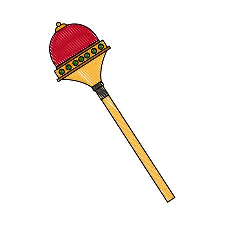scepter: Royal scepter drawing superhero accessory vector illustration