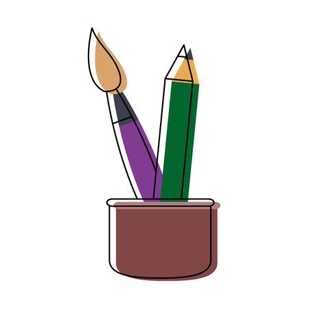 writing utensil: cup with writing utensils pen brush in flat design style vector illustration Illustration