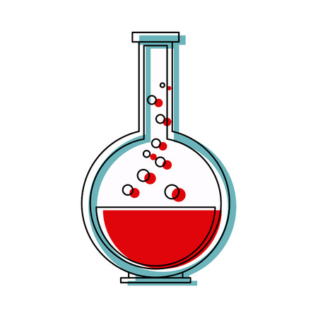 glass reflection: school chemical laboratory flask with liquid vector illustration Illustration