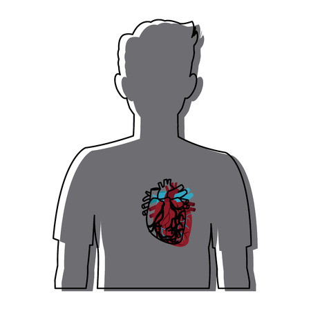 heart on the silhouette of a man vector illustration Иллюстрация