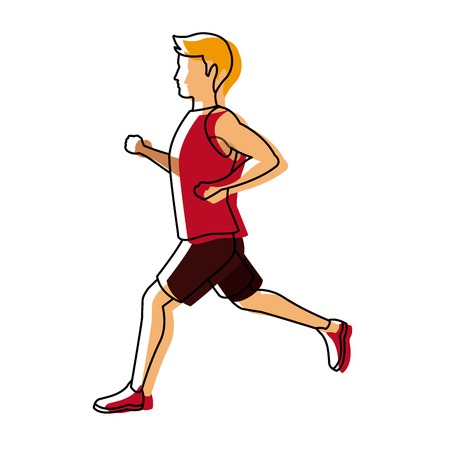 Running man in red jersey profile side view vector illustration Illustration