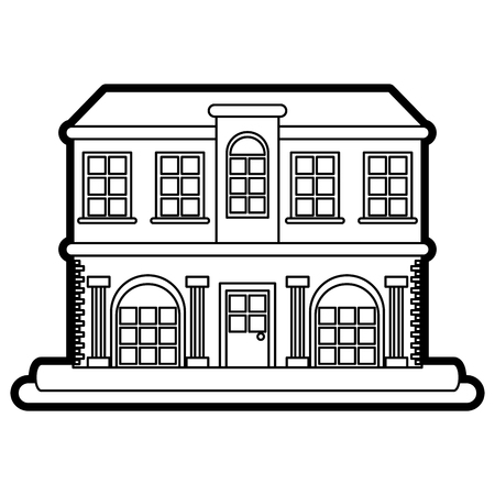 glass reflection: black and white city building icon vector illustration graphic design