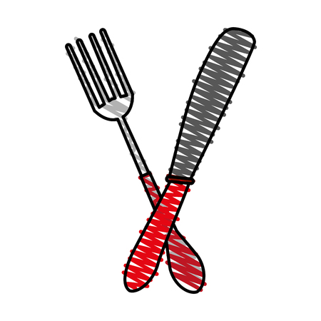 fork and knife utensil kitchen vector illustration graphic design