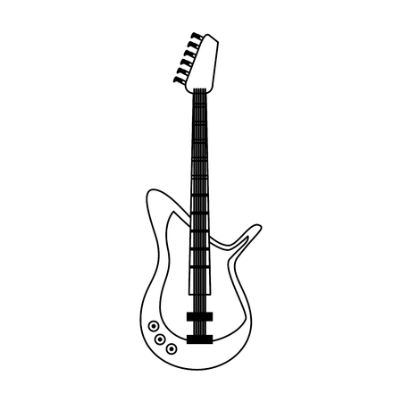 electric guitar musical instrument icon image vector illustration design black and white Illustration