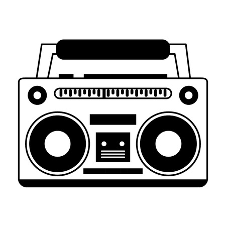 boombox icon image vector illustration design black and white Illustration