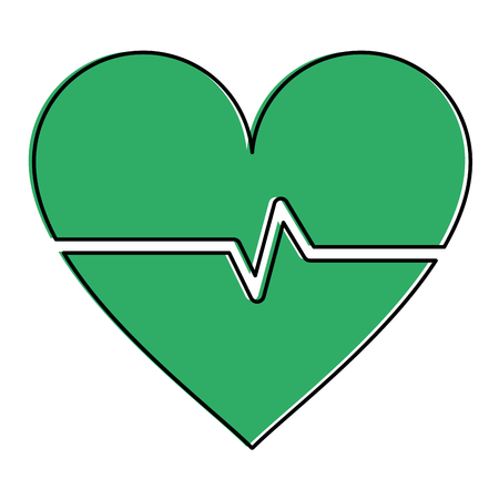 heart cardiogram healthcare related icon image vector illustration design green color