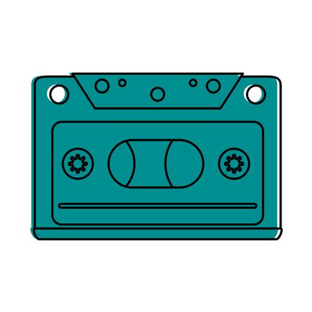 audio cassette icon image vector illustration design blue color