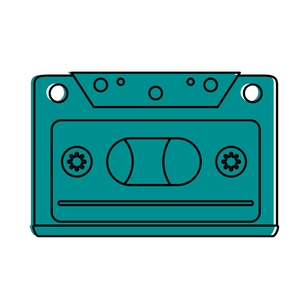 audio cassette icon image vector illustration design blue color