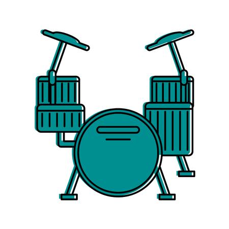 drum set musical instrument icon image vector illustration design blue color