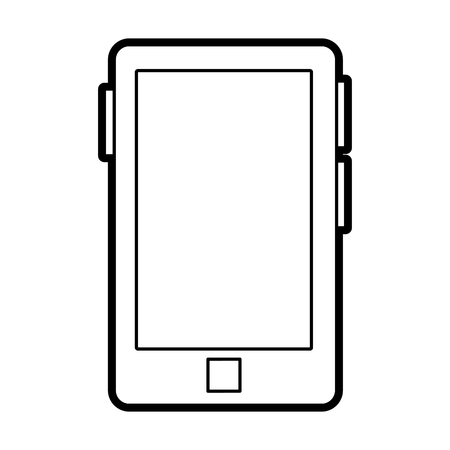 responsive: Flat line uncolored smartphone over white background vector illustration