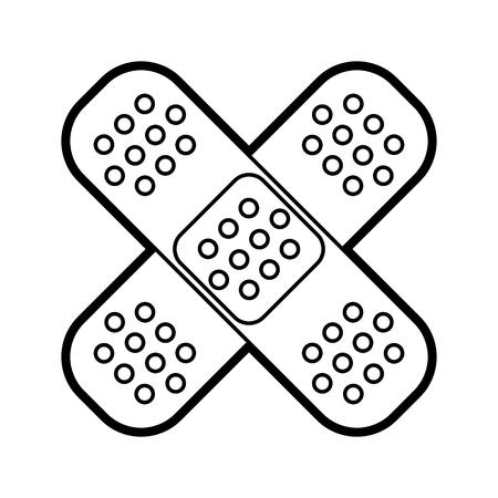 Vlakke lijn niet-gekleurde band aids over witte achtergrond vectorillustratie