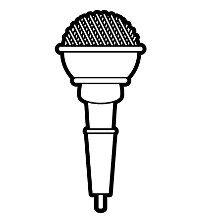 Flat line uncolored microphone over white background vector illustration