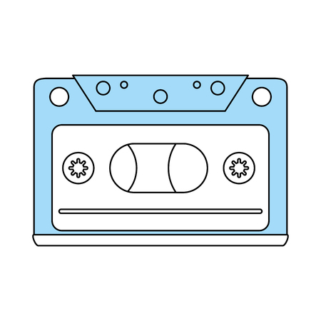 illustraiton: Flat line monocromatic tape over white background vector illustraiton