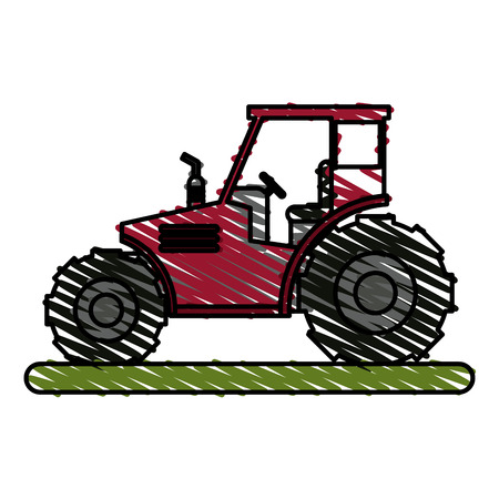 Colorful tractor doodle over white background vector illustration