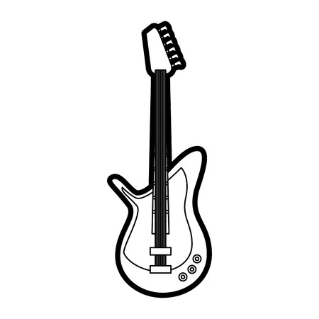 Flat line uncolored electric guitar over white background vector illustration