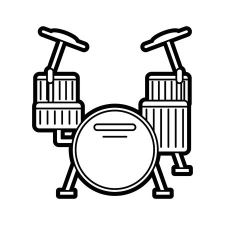 Flat line uncolored drums over white background vector illustration