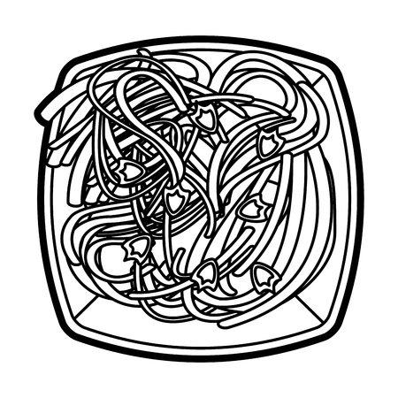 Flat line uncolored spaghetti dish over white background vector illustration