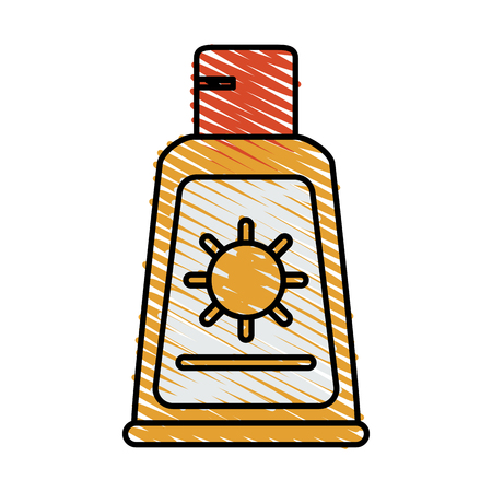 Colorful sunscreen doodle over white background vector illustration