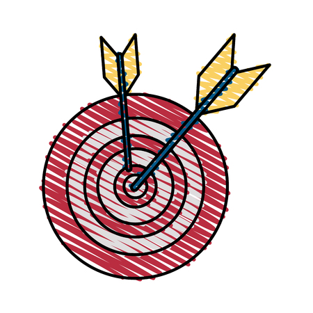 Colorful target and darts doodle over white background vector illustration