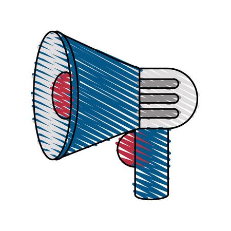 Colorful megaphone doodle over white background vector illustration Illustration