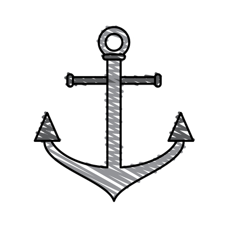 ship anchor: Colorful anchor doodle over white background vector illustration Illustration