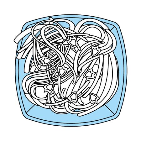 Flat line monocromatic spaghetti over white background vector illustration Illustration