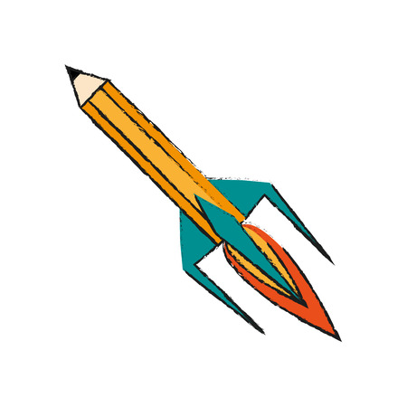 Colorful pencil shaped rocket doodle over white background vector illustration