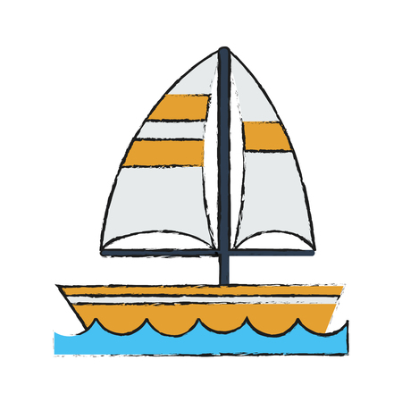 Colorful sailboat doodle over white background vector illustration