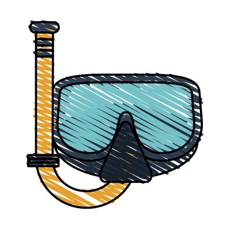 Colorful snorkel doodle over white background vector illustration