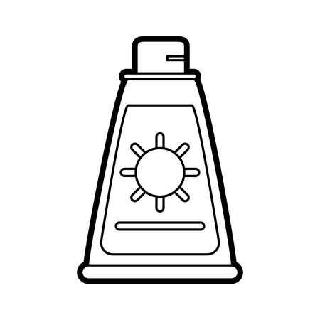 Flat line uncolored sunscreen over white background vector illustration Illustration