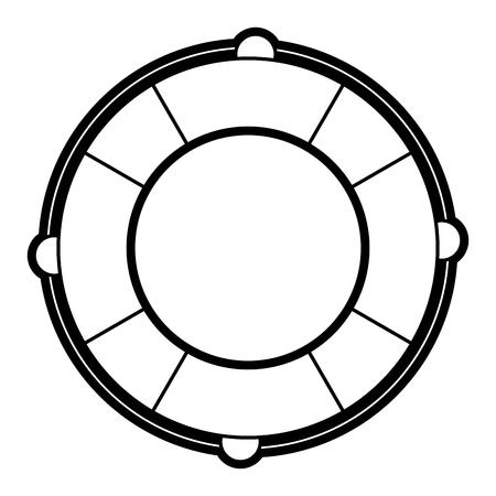 Flat line uncolored lifesaver over white background vector illustration