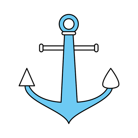 Flat line monocromatic anchor over white background vector illustration